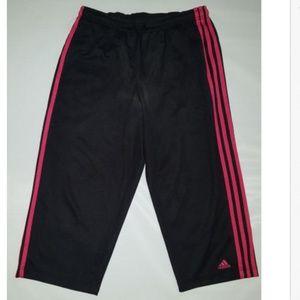 Adidas Womens Black Mesh Capri Pants Workout